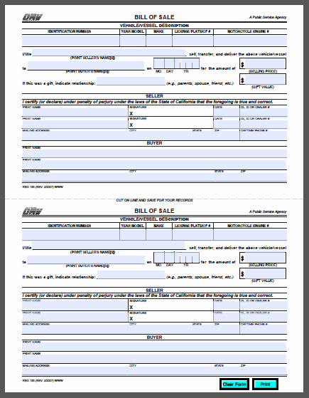 New Car Bill Of Sale Unique California Vehicle Bill Of Sale form