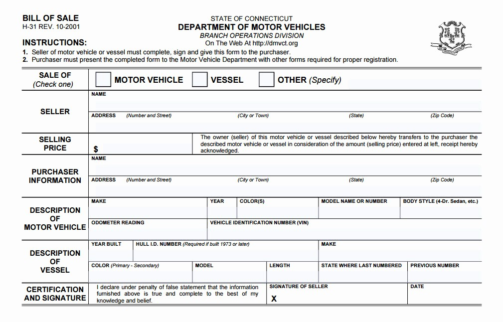 New Car Bill Of Sale Unique Connecticut Bill Sale