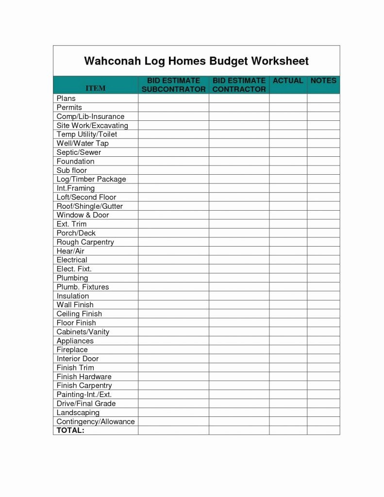 New Home Construction Budget Worksheet Awesome Spreadsheet for New Home Construction Bud Regarding