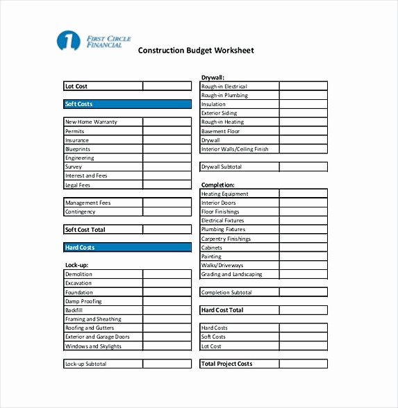 New Home Construction Budget Worksheet Inspirational 9 Construction Bud Template