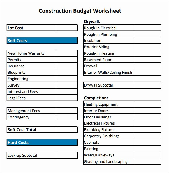 New Home Construction Budget Worksheet Luxury 8 Construction Bud Samples Examples Templates