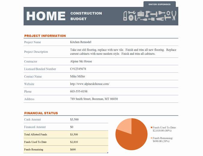 New Home Construction Budget Worksheet New Home Construction Bud