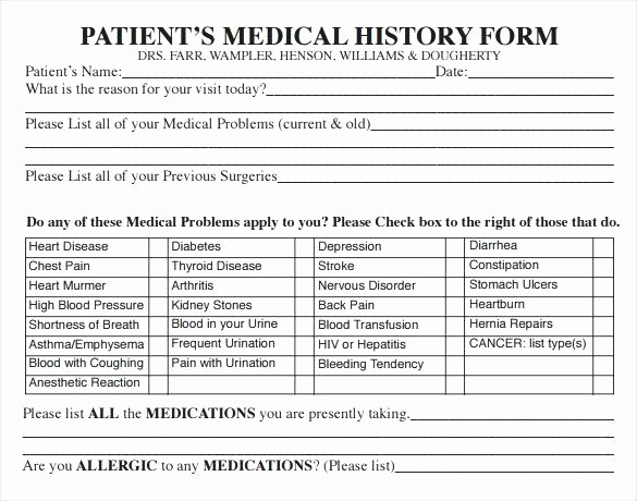 New Patient Health History form Awesome Personal Medical History Record Template Medical History