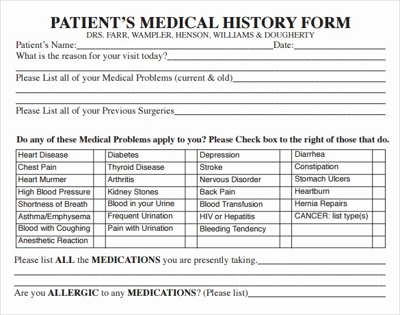New Patient Health History form Beautiful 15 Medical History forms