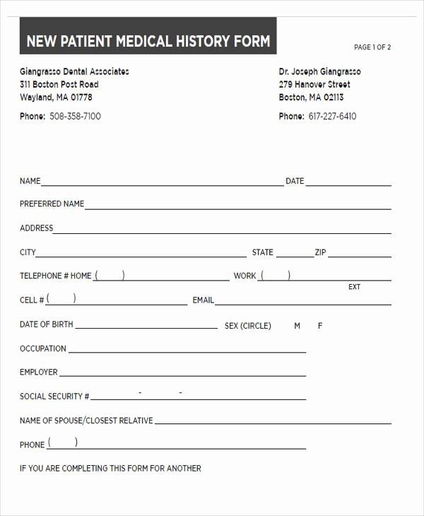 New Patient Health History form Best Of 43 Sample Medical forms In Pdf
