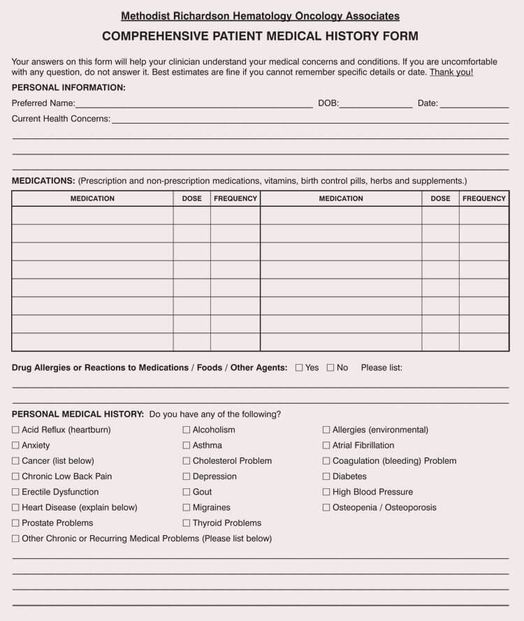 New Patient Health History form Lovely General Medical History forms Free [word Pdf]