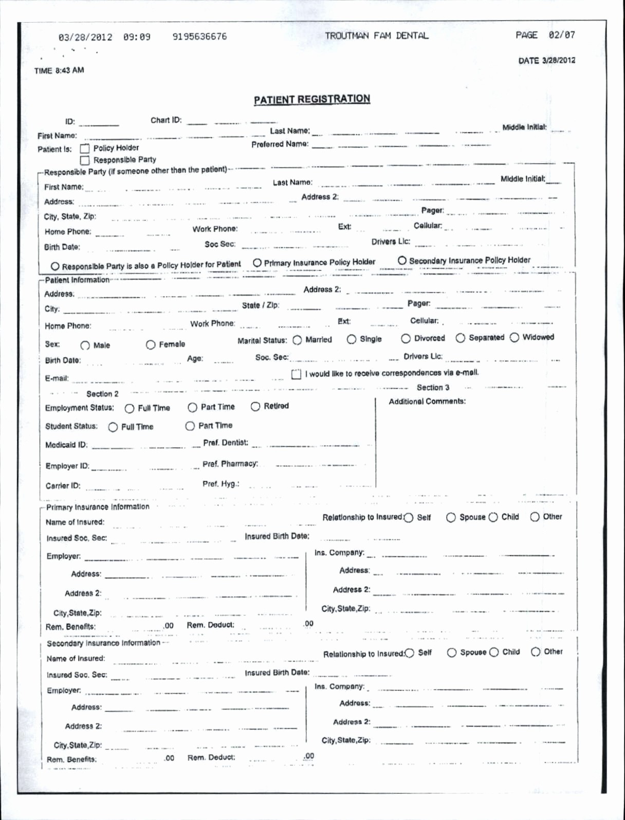 New Patient Medical History forms Awesome Troutman Family Dentistry Mebane Nc