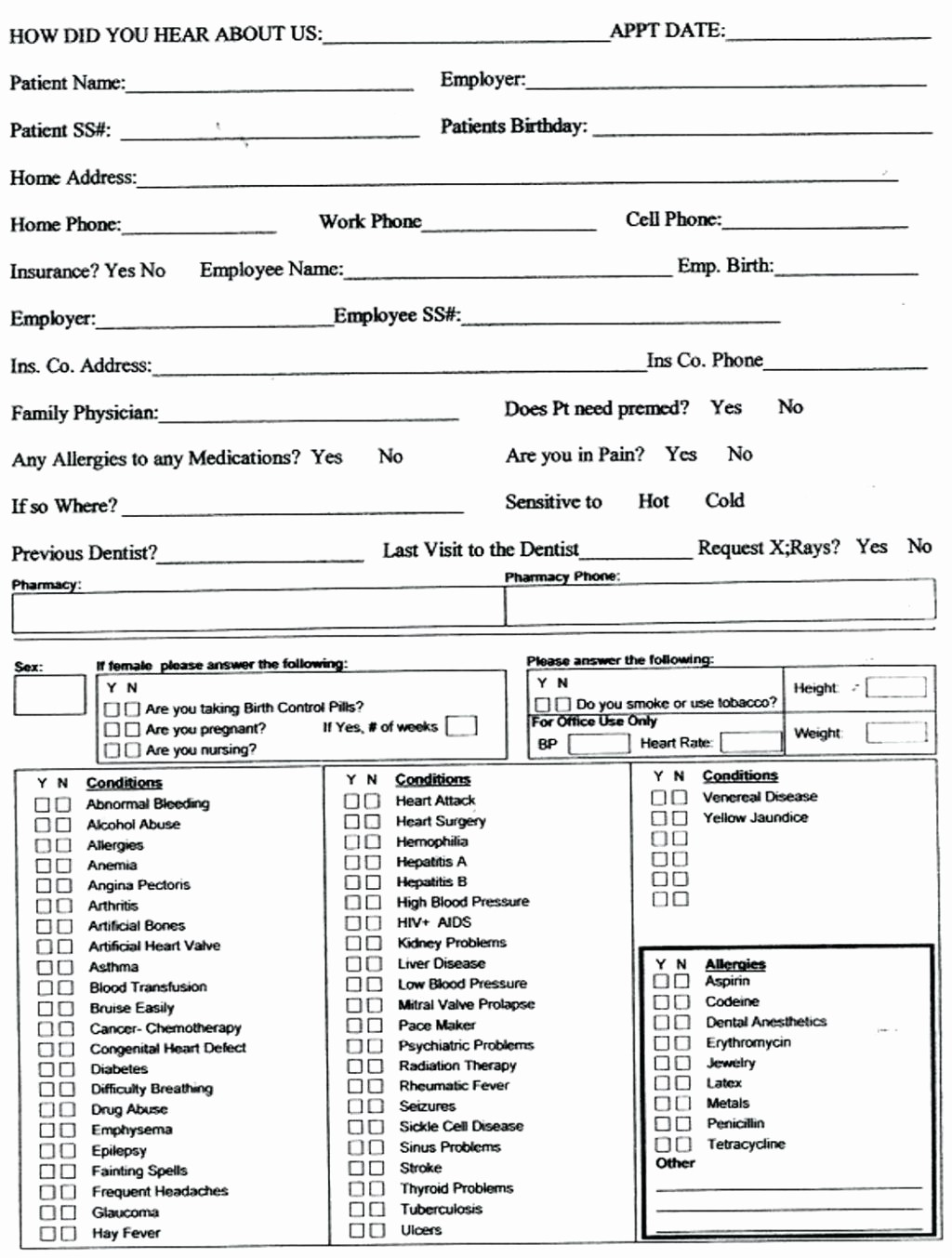 New Patient Medical History forms Elegant Employee Update form Design Templates