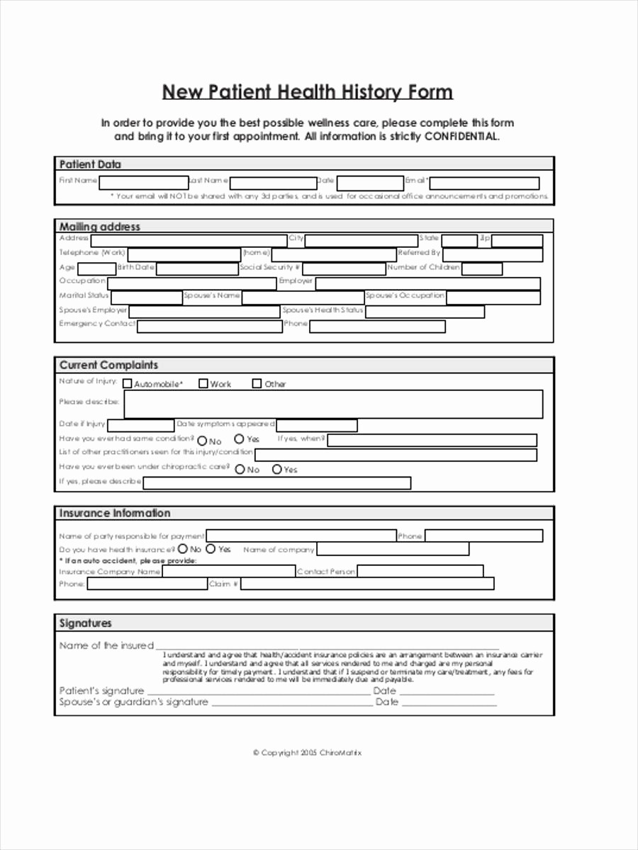 New Patient Medical History forms Inspirational 8 Health History forms Samples Free Sample Example
