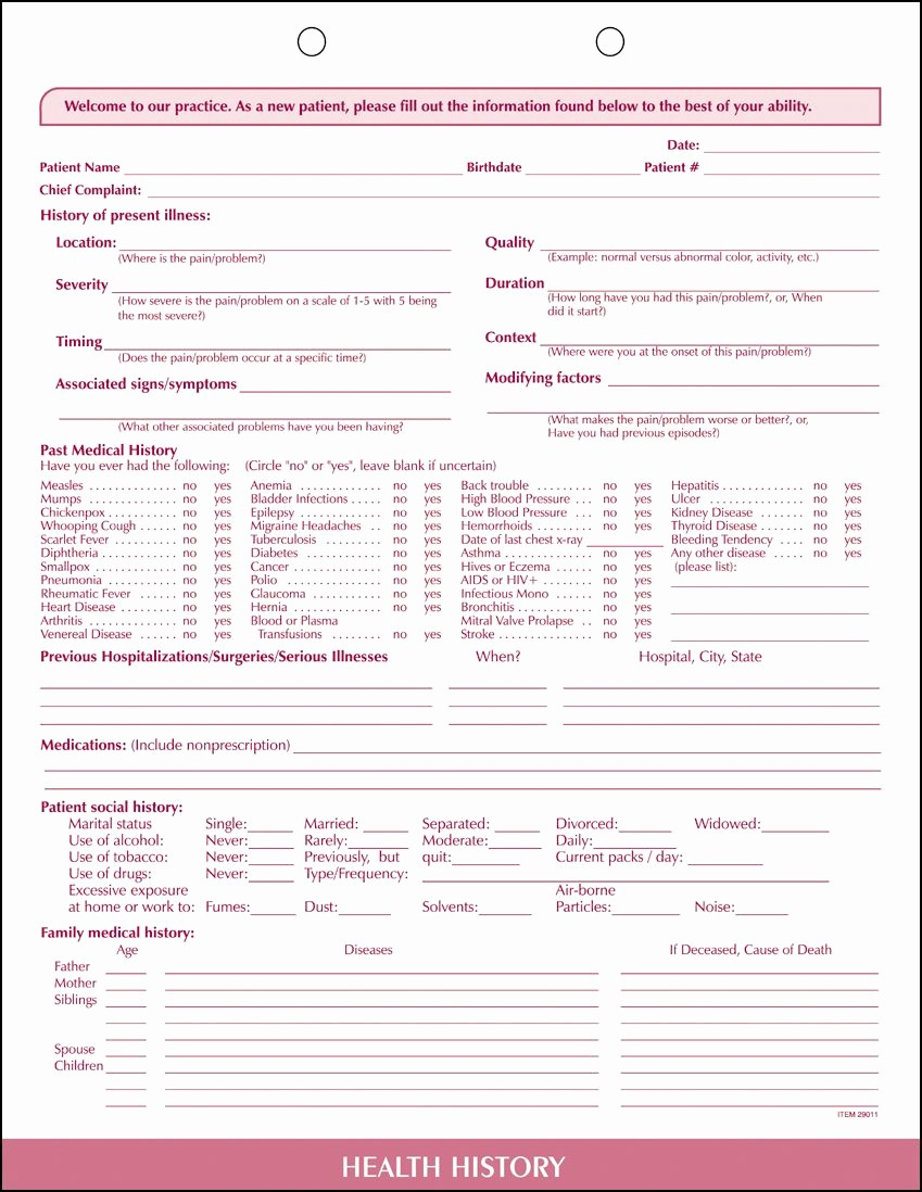 New Patient Medical History forms Unique New Patient Health History forms for Sale 100 Package