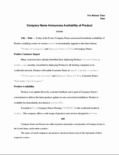 New Product Press Release Sample Awesome Press Release with Product Announcement