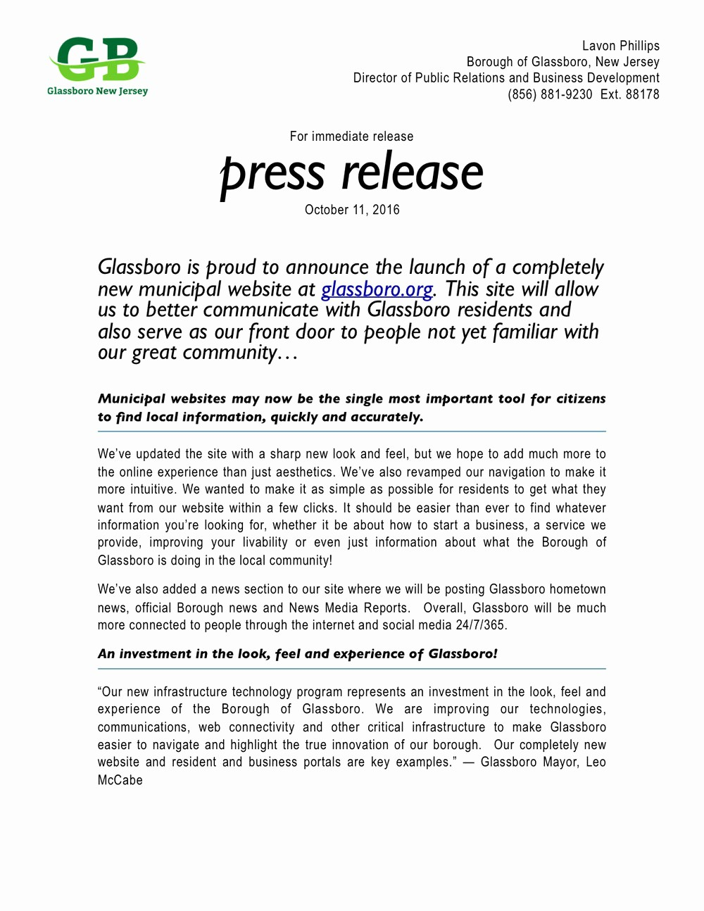 New Product Press Release Sample Best Of Glassboro is Proud to Announce the Launch Of A Pletely