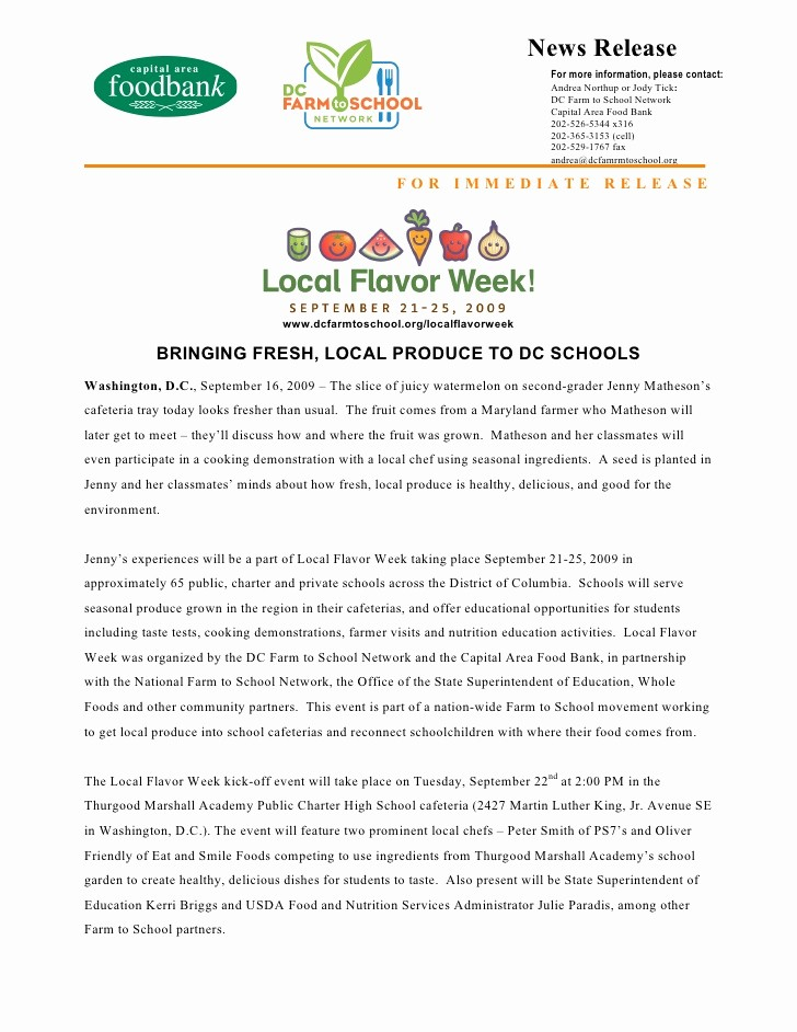 New Product Press Release Sample Best Of Local Food Week Press Release
