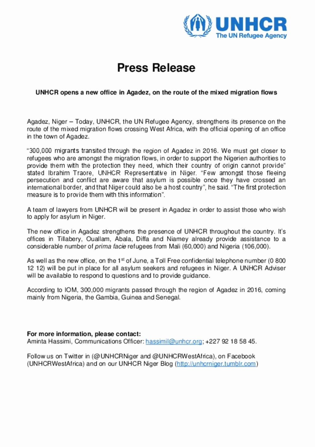 New Product Press Release Sample Fresh Document Unhcr Niger Press Release