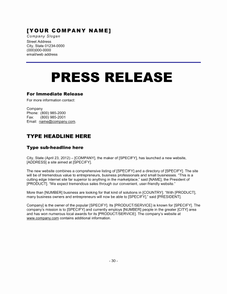 New Product Press Release Sample Inspirational 6 Press Release Templates Excel Pdf formats