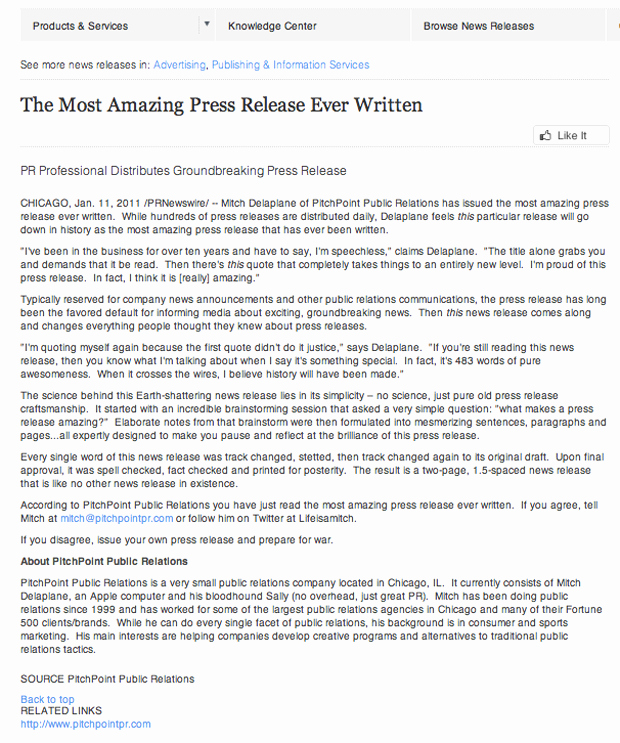 New Product Press Release Sample Lovely the Most Amazing Press Release Ever Written