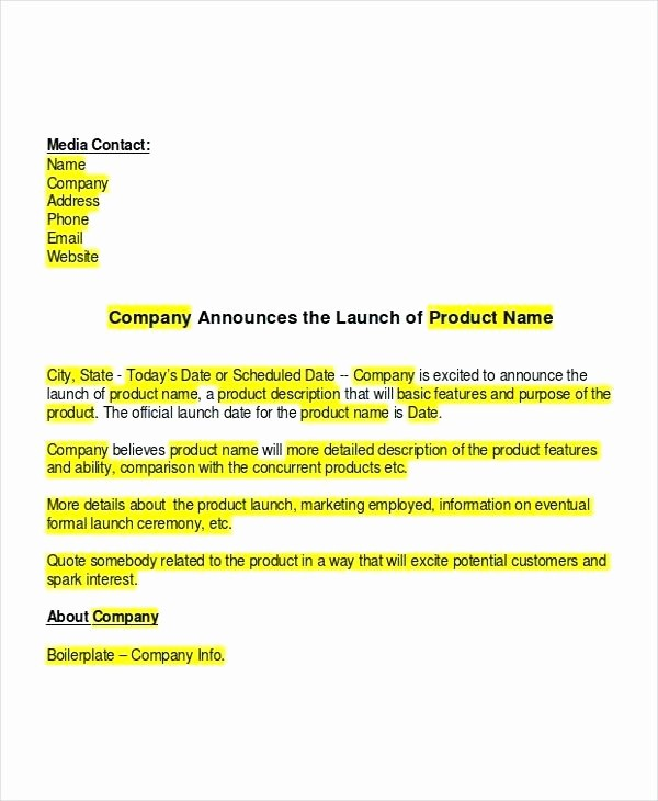 New Product Press Release Sample New Product Launch Press Release Template Media Announcement