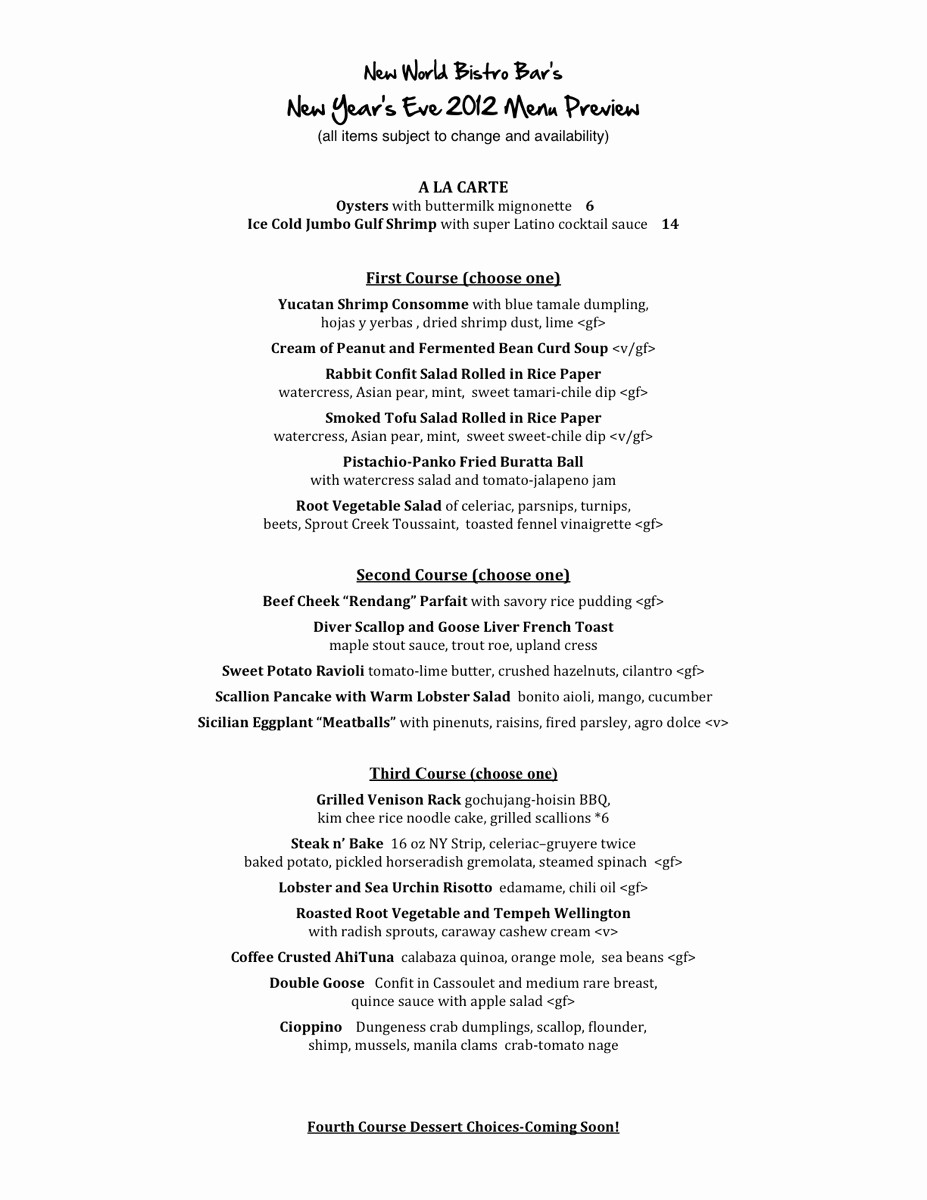 New Years Eve Menu Template Awesome New Year S Eve Menu Preview