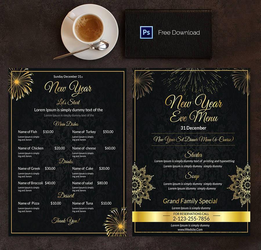 New Years Eve Menu Template Beautiful 16 Free Menu Templates Cafe Restaurant Party