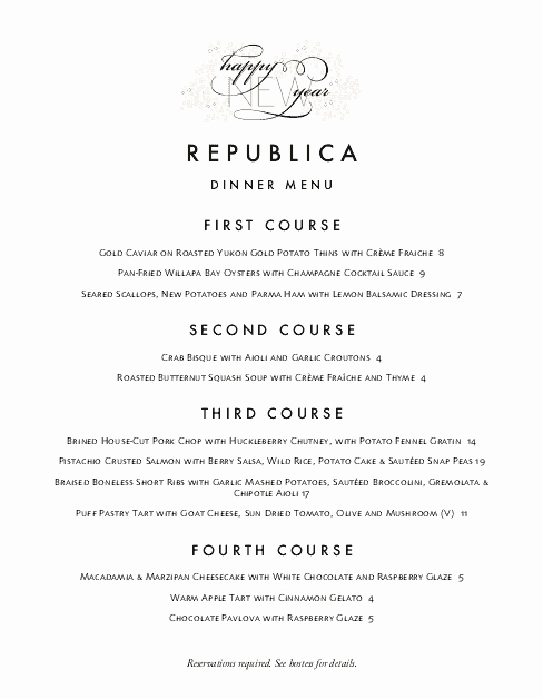 New Years Eve Menu Template Beautiful Elegant New Years Menu