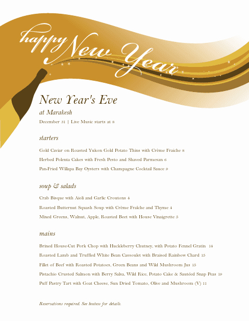 New Years Eve Menu Template Beautiful Menu for New Years Eve