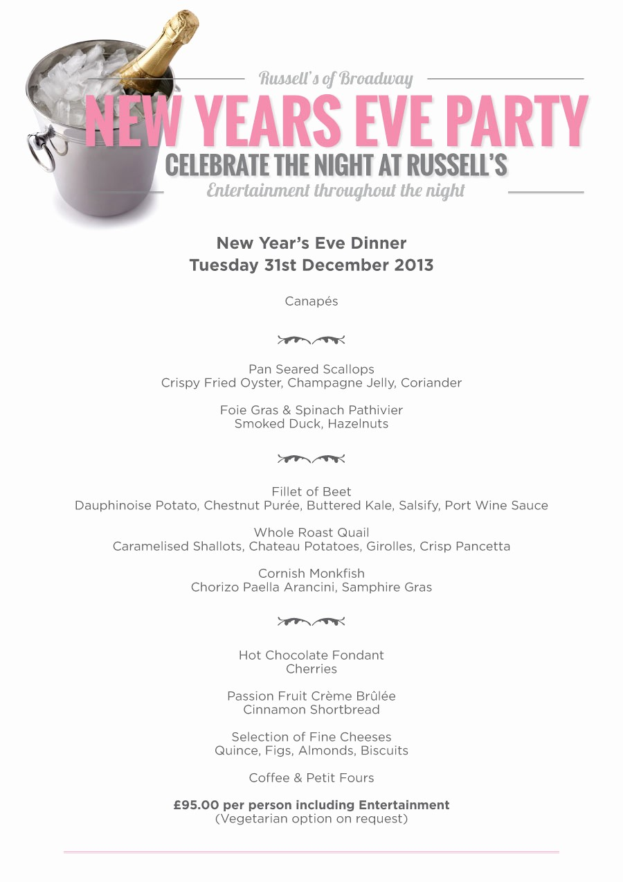 New Years Eve Menu Template Beautiful New Years Eve Party at Russell S Russell S