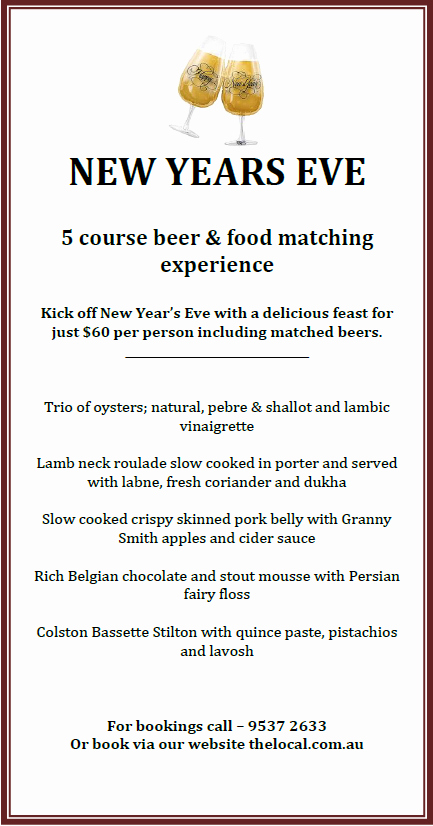 New Years Eve Menu Template Beautiful the Local Taphouse Blog New Years Eve 5 Course Beer