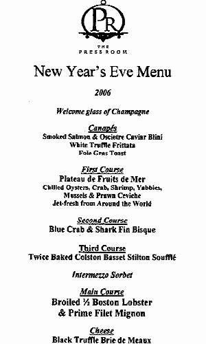 my new years eve menu