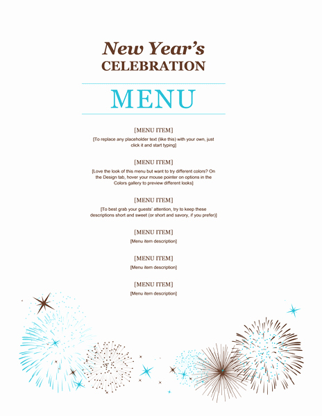 New Years Eve Menu Template Best Of New Year Party Menu Template