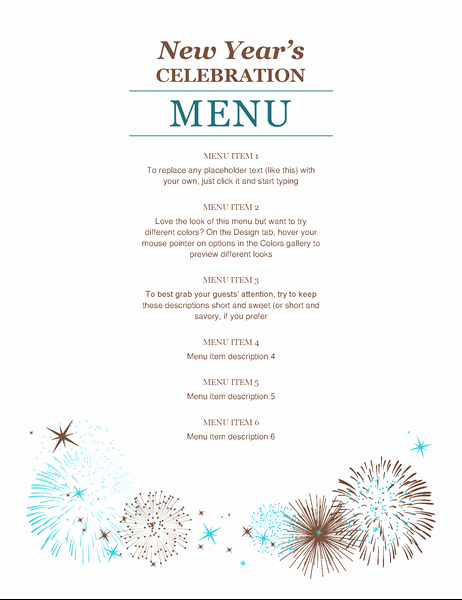 New Years Eve Menu Template Best Of New Year S Party Menu Fice Templates