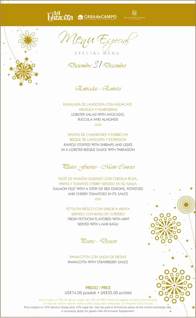 New Years Eve Menu Template Elegant New Years Eve 2011 Special Menus at La Piazzetta La Caña