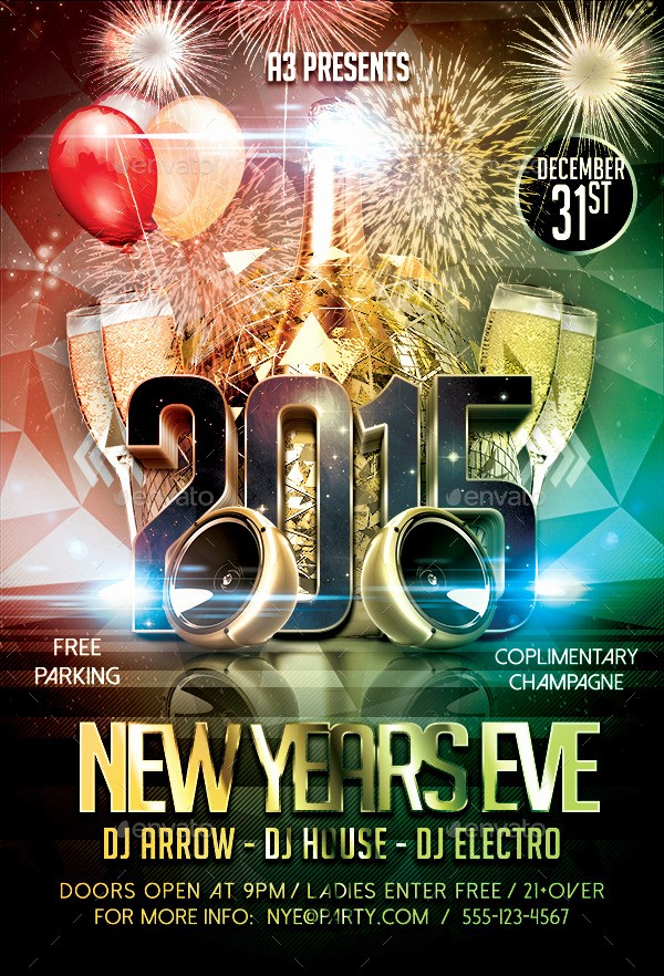 New Years Eve Menu Template Elegant New Year's Eve Flyer Template by Arrow3000