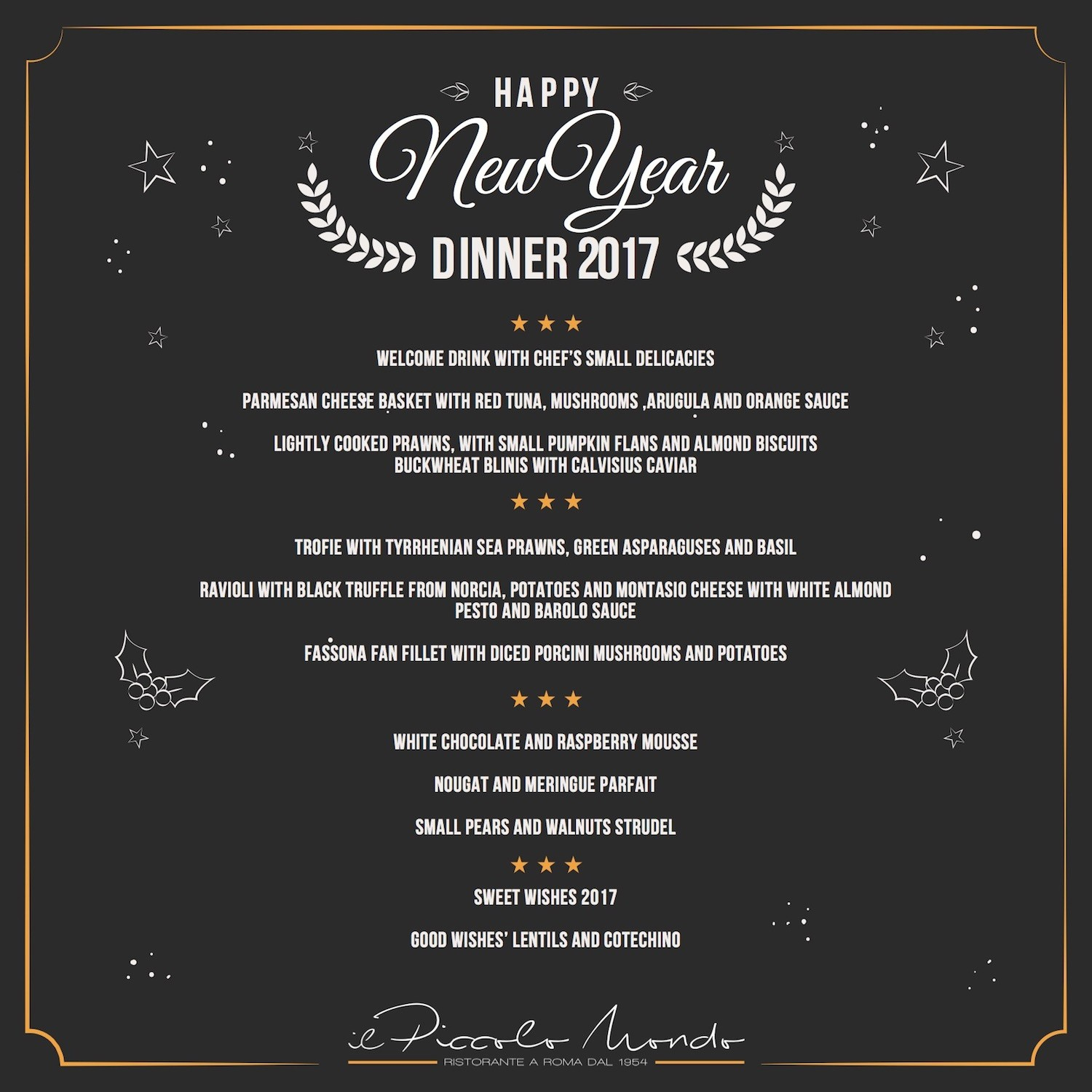 New Years Eve Menu Template Fresh New Year S Eve In Rome Il Piccolo Mondo Restaurant
