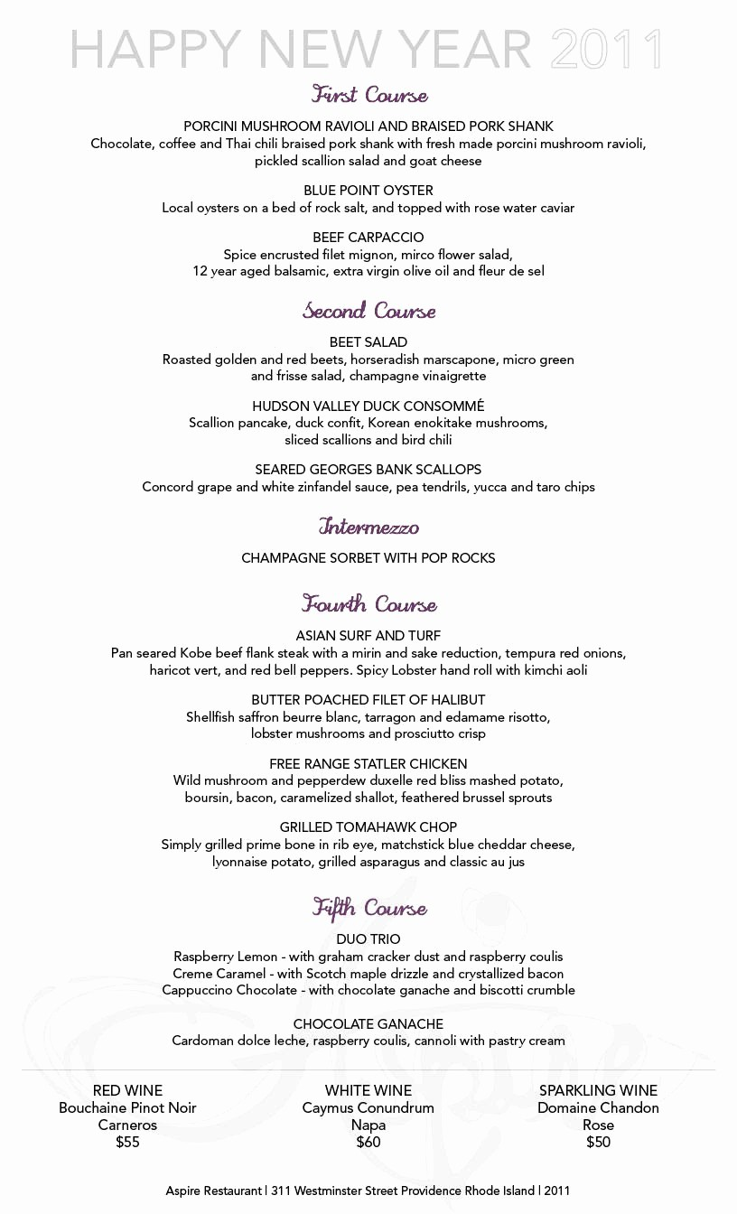 New Years Eve Menu Template Fresh New Year's Eve