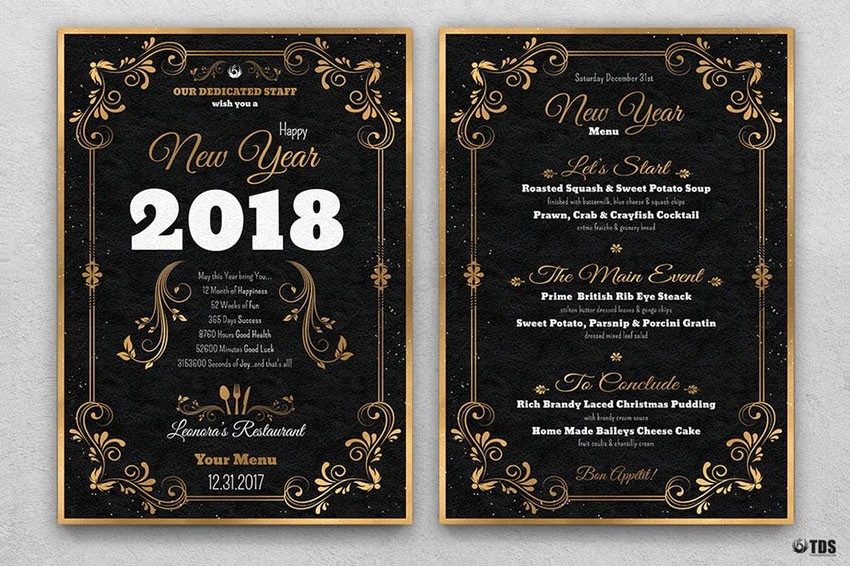 New Years Eve Menu Template Inspirational 50 Amazing Christmas and New Year S Eve Flyers for the