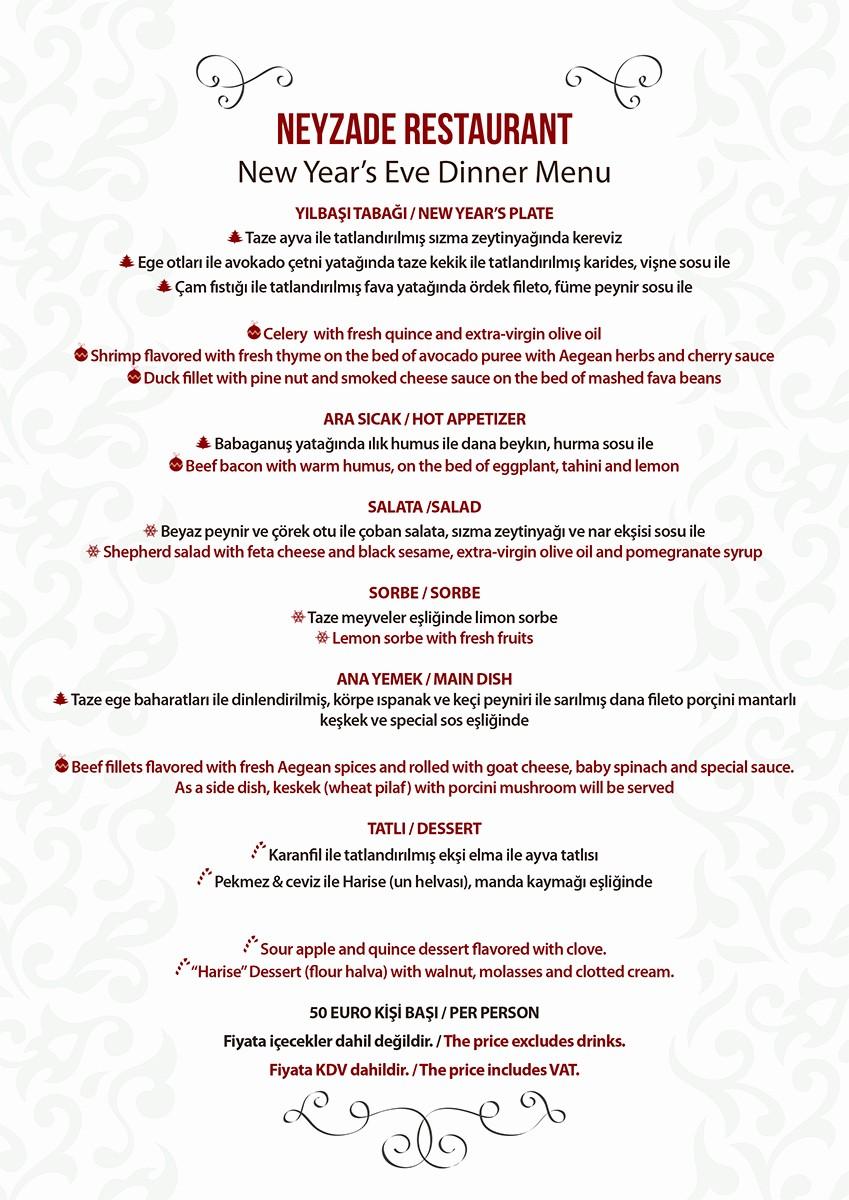 New Years Eve Menu Template Inspirational Neyzade Restaurant New Year's Eve Menu