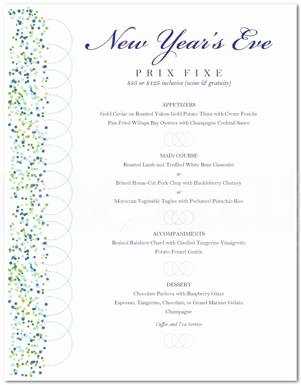 New Years Eve Menu Template Lovely New Year S Eve Menu