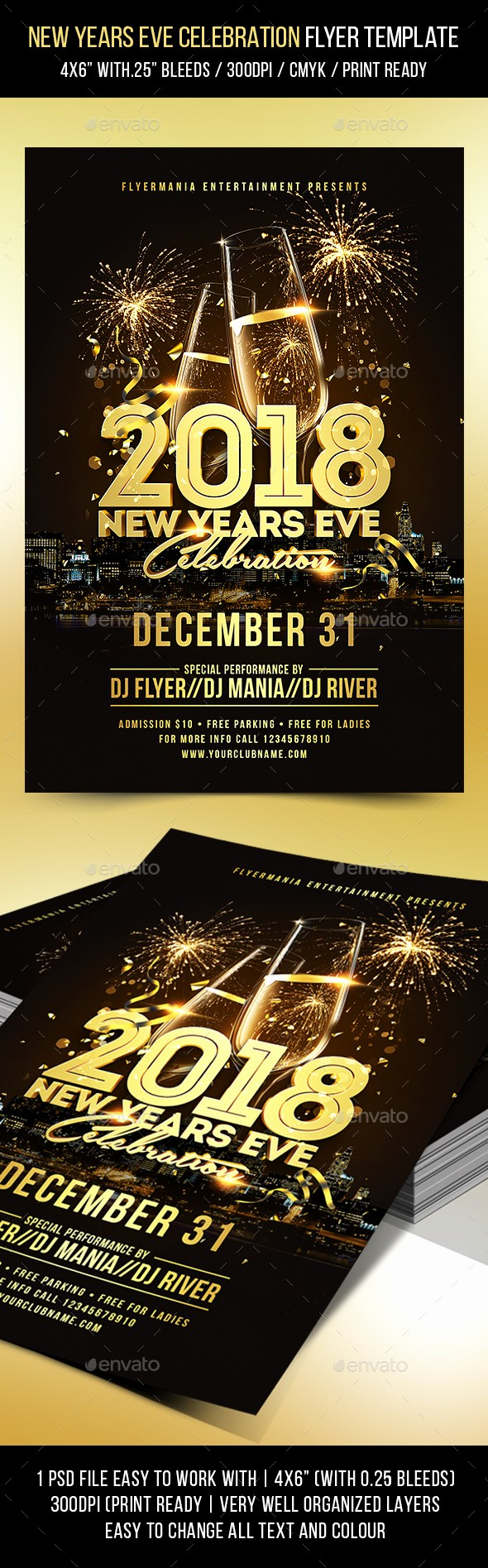 New Years Eve Menu Template Lovely New Years Eve Celebration Flyer Template by Flyermania
