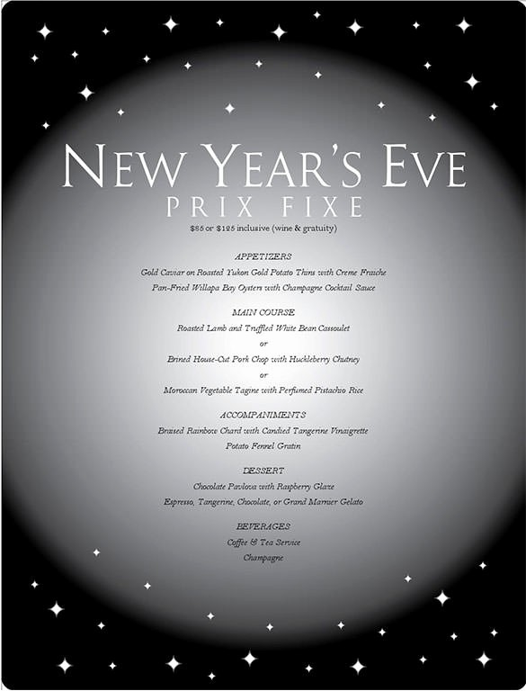 New Years Eve Menu Template Luxury 9 New Year Menu Templates Psd Eps Illustrator Pdf