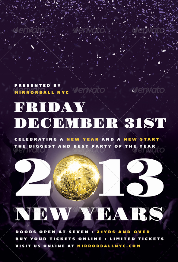 New Years Eve Menu Template Luxury Mirrorball New Years Eve Flyer Template