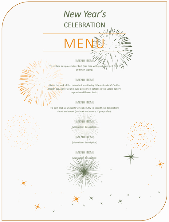 New Years Eve Menu Template Luxury New Year Party Menu Template