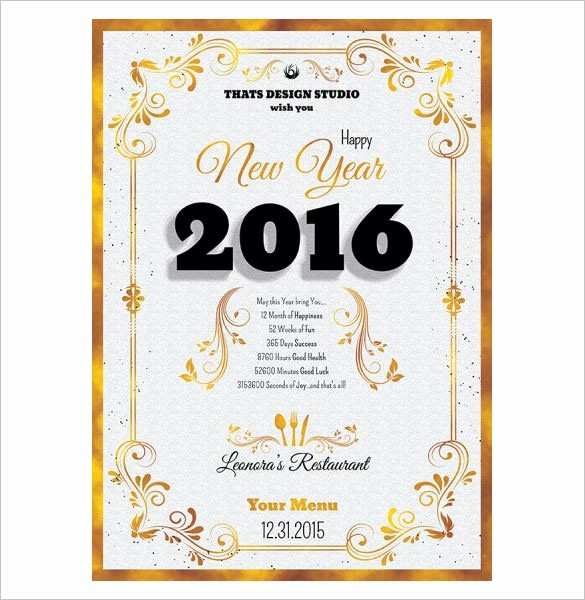 New Years Eve Menu Template New 9 New Year Menu Templates Psd Eps Illustrator Pdf