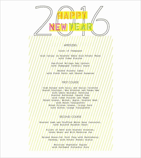 New Years Eve Menu Template New 9 New Year Menu Templates Psd Eps Illustrator Pdf