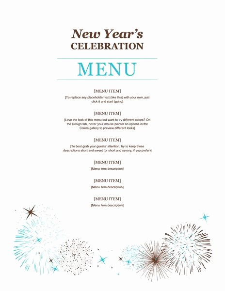 New Years Eve Menu Template Unique New Year Party Menu Template
