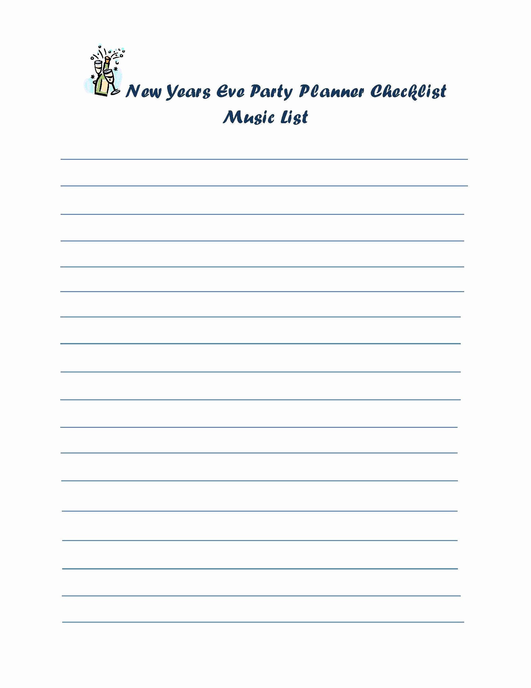 New Years Eve Party Checklist Beautiful New Years Eve Party Planner Checklist Music List