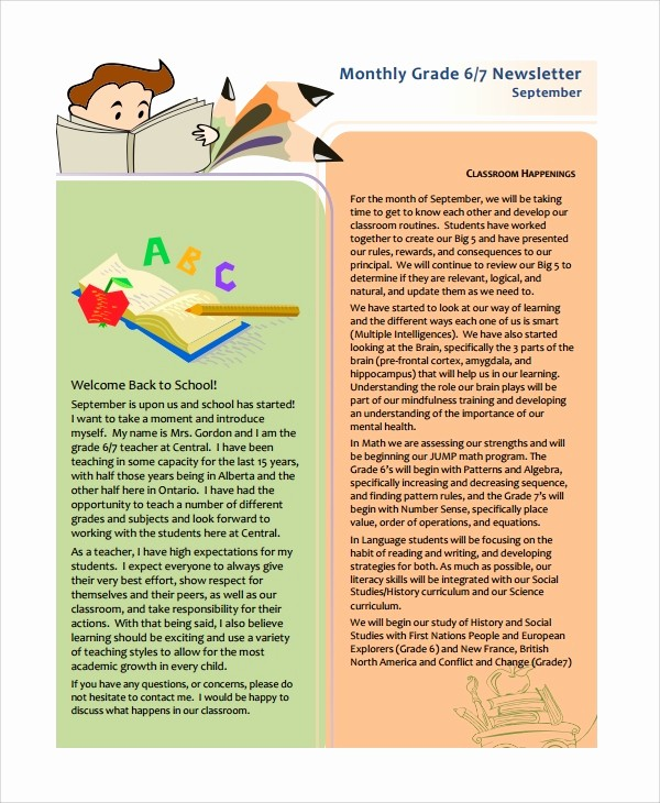 News Letter Templates for Teachers Awesome 7 Teacher Newsletter Templates