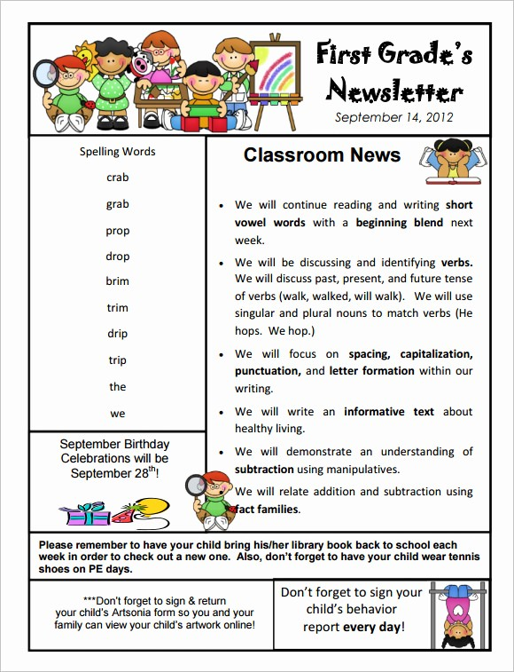 News Letter Templates for Teachers Beautiful School Newsletter Templates for Teachers Studiojpilates
