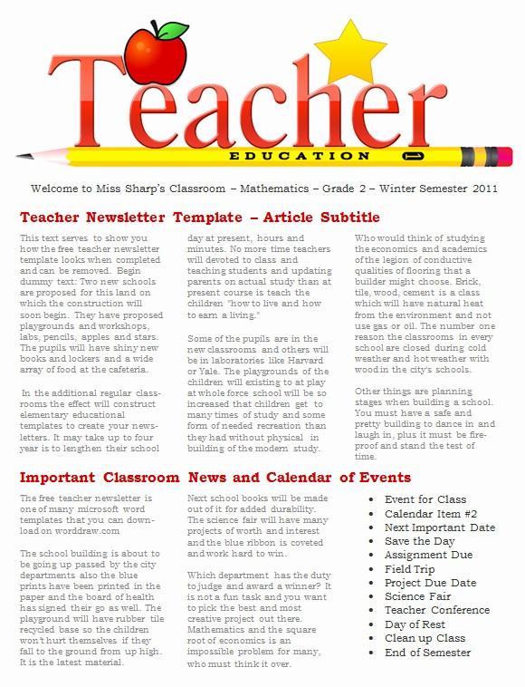 News Letter Templates for Teachers Best Of 20 Fantastic Printable Newsletter Templates