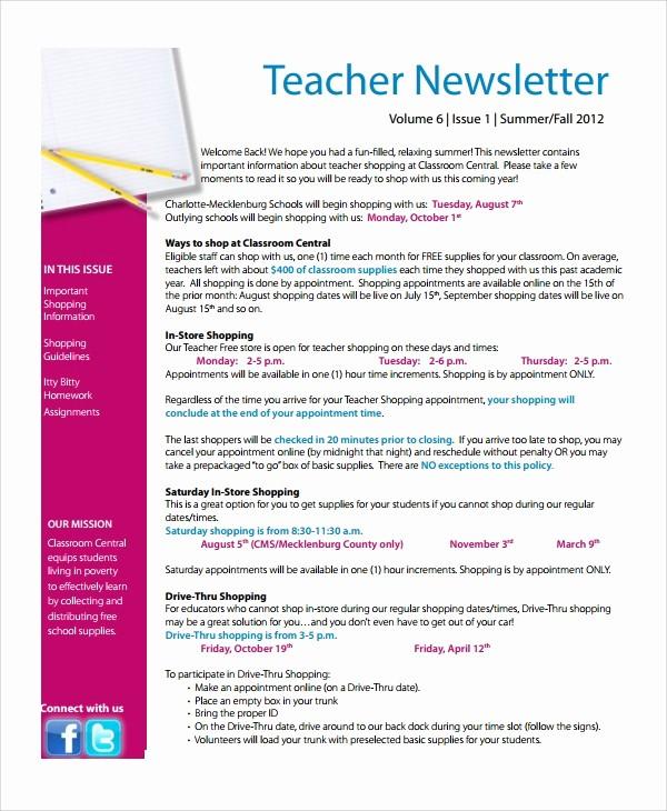 News Letter Templates for Teachers Best Of 7 Teacher Newsletter Templates