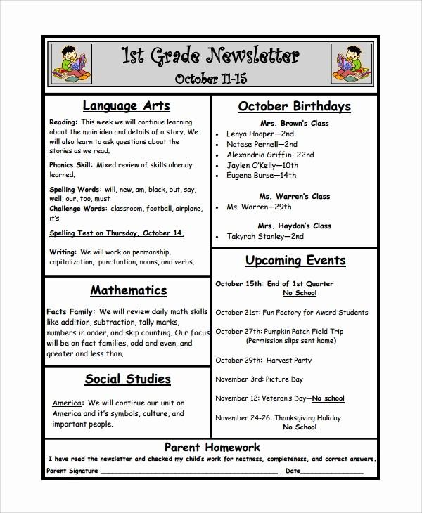 News Letter Templates for Teachers Elegant 10 Weekly Newsletter Templates